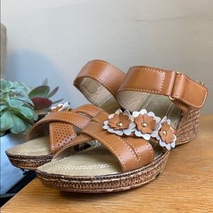 Patrizia Brown Strappy Wood Wedge Sandals | 6